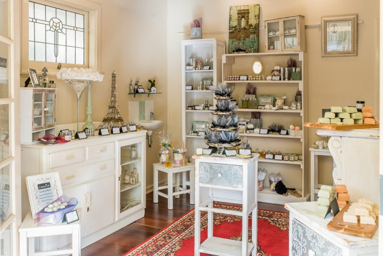 Cherie Em's Willunga store interior, displaying a wide variety of skincare and body products, perfumes and more.