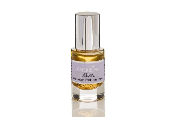 Bella roll-on organic perfume, 5ml, which features Orris Root, Vanilla, Rose & Jasmine.