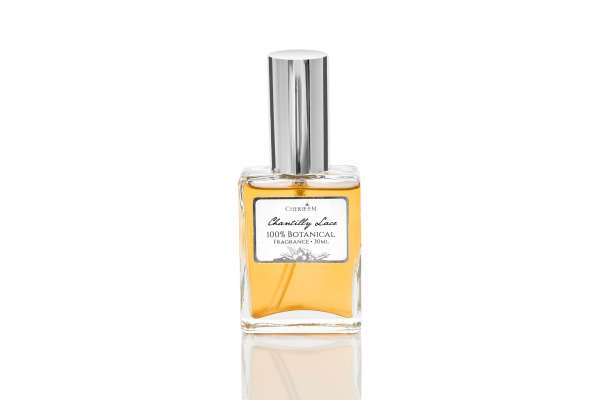 Chantilly Lace 30ml botanical perfume, which includes Ginger, Jasmine, Vanilla, Amber, Bergamot