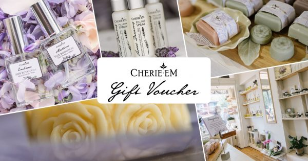 Cherie Em gift voucher featuring a variety of products from in store.
