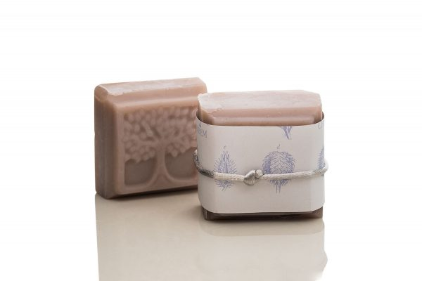 A large square soap with an embossed tree on it, made from Lavender and Brazilian Purple Clay - all natural ingredients.