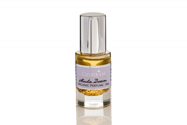 Mocha Dream, roll-on perfume, 5ml, made with essential oils including Rock Rose, Vanilla, Tonka Bean, Coffee, Cocoa.