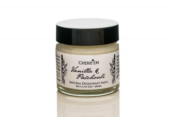 Vanilla and Patchouli all natural, aluminium free, deodorant paste.