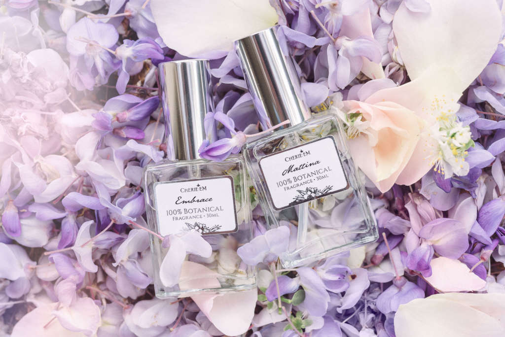 Bottles of botanical perfume made with all natural ingredients