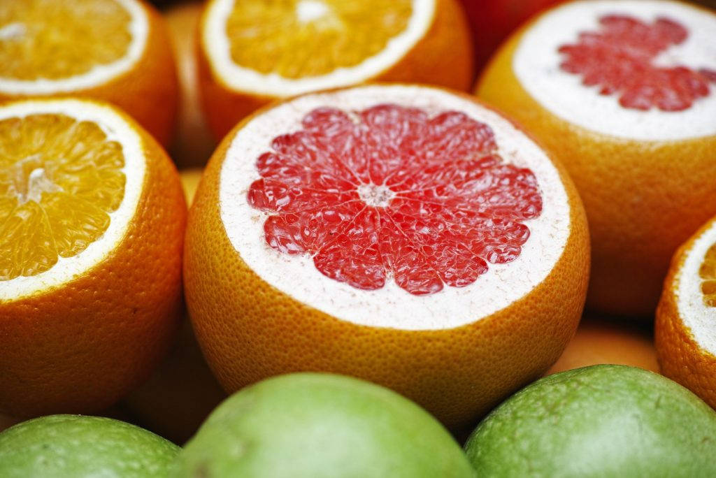 An assortment of citrus fruits.